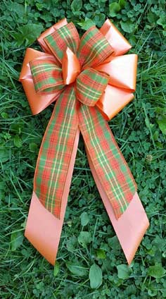 CF2 - Orange Poly/Orange & Green Plaid Combow