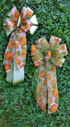 CFD4 - Pumpkin Linen with Fern Poly and Basil Sheer Combows