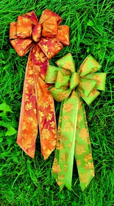 CFD5 - Burnt Orange & Green Linen with Gourds Print Ribbon Combows