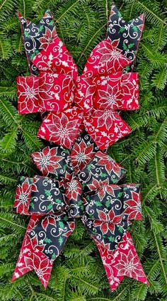 Fifty Shades of Naughty & Nice: Black & Red Linen Glitter Poinsettias